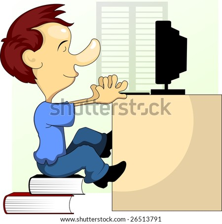 Illustration of Cartoon character with book and computer