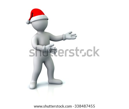 Illustration of cartoon man in Santa hat presenting empty space