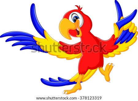 illustration of Cartoon parrot flying - stock photo