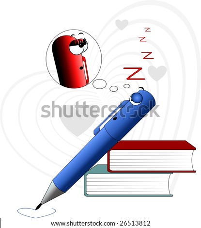 Illustration of Cartoon pencil and books