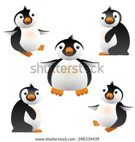 Illustration of cartoon penguin. Cute baby penguins black and white, orange beak. Design element. For web and apps. Isolated on white background - stock photo