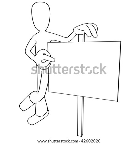 Illustration of cartoon person pointing at blank sign - stock photo