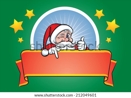 illustration of cartoon Santa Claus winking and pointing at blank red banner - stock photo