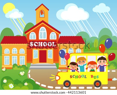 Illustration of cartoon school building. Children are going to school by bus. School bus with cute schoolgirl and schoolboys.