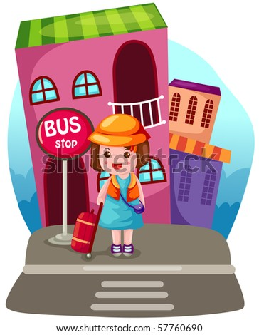 illustration of  cartoon tourist with but stop sign