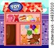 illustration of cartoon toy shop - stock photo