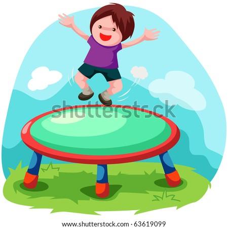 illustration of cartoon trampoline jumping - stock photo