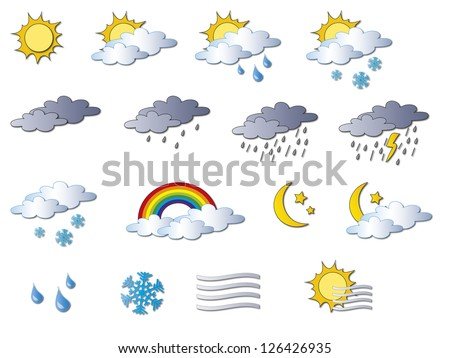 illustration of cartoon weather icons
