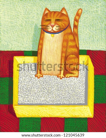 illustration of Cat Box - stock photo