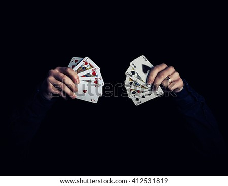 Illustration of caucasian hands holding royal flush combination of hearts and spades