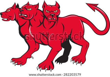 Illustration of cerberus, in Greek Roman mythology, a multi-headed usually three-headed dog or hellhound with a serpent's tail and  lion's claws done in cartoon style. - stock photo