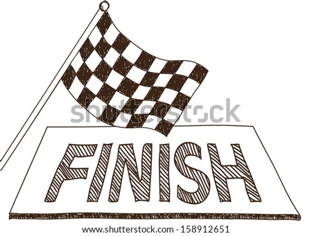 Illustration of checkered flag and finish, doodle style drawing - stock photo
