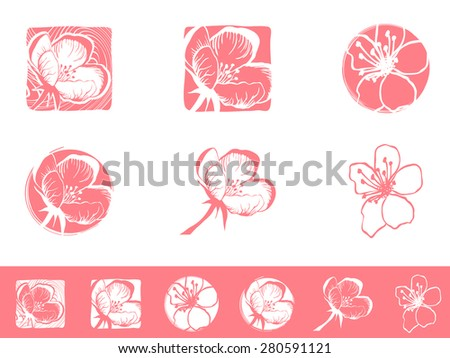 Illustration of Cherry Blossom Logo Design Collection - stock photo