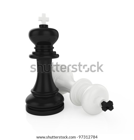 Illustration of chess king standing on white background