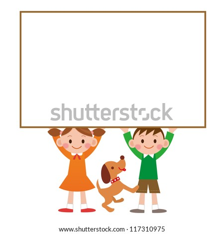 Illustration of child who has whiteboard - stock photo