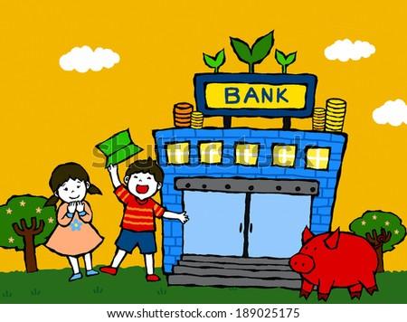 Illustration of children and piggy bank - stock photo