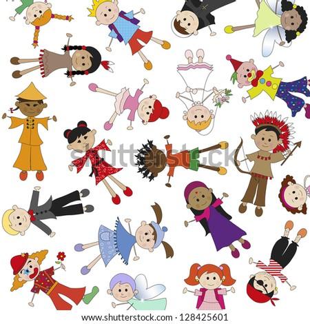 illustration of children background in white bakcground - stock photo