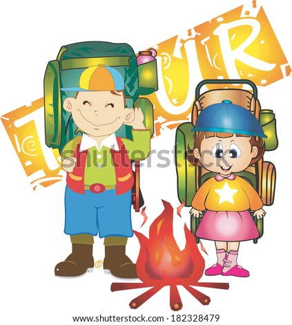 Illustration of children by the campfire