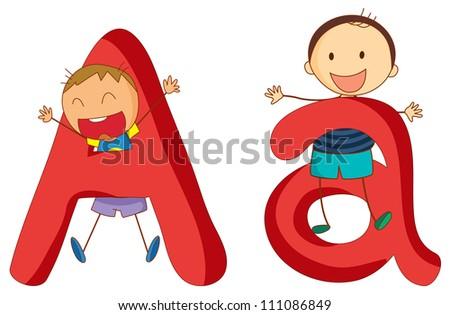 Illustration of children in a letter of alphabet - stock photo