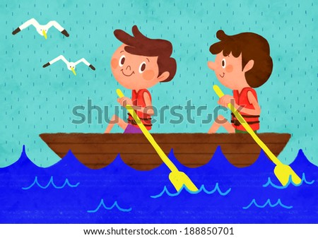 Illustration of children rowing a boat