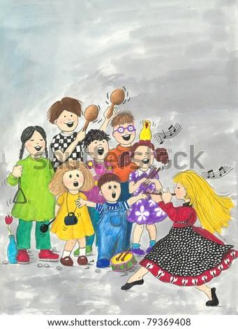 Illustration of Children's Choir - stock photo