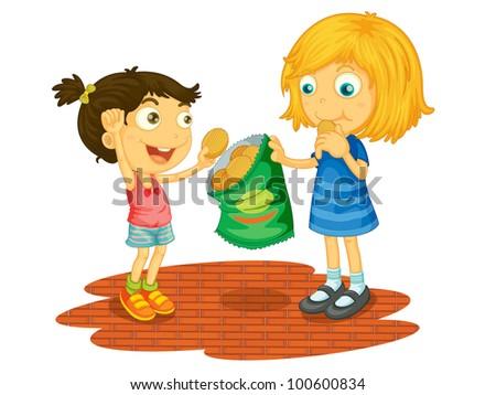 illustration children sharing chips eps vector stock photo edit now