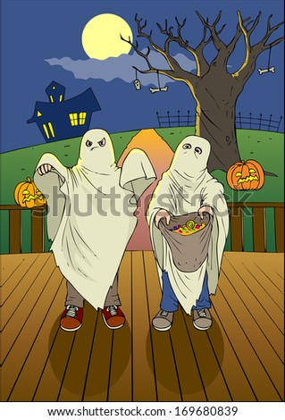 Illustration of children with candy bag at Halloween night - stock photo