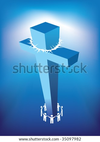 illustration of christian cross and a ring of people - stock photo