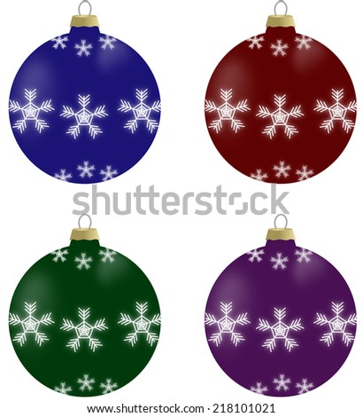 Illustration of christmas balls with snowflakes in 4 colors - blue, burgundy, green and violet - stock photo