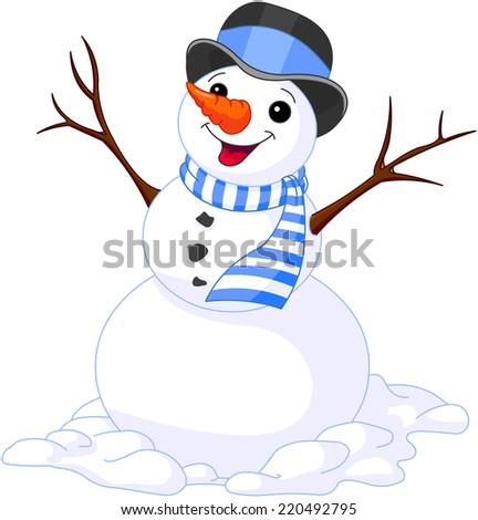 Illustration of Christmas cute snowmen - stock photo