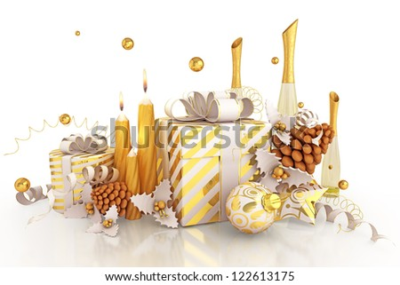 illustration of Christmas decoration with candle champagne glass with gift box - stock photo
