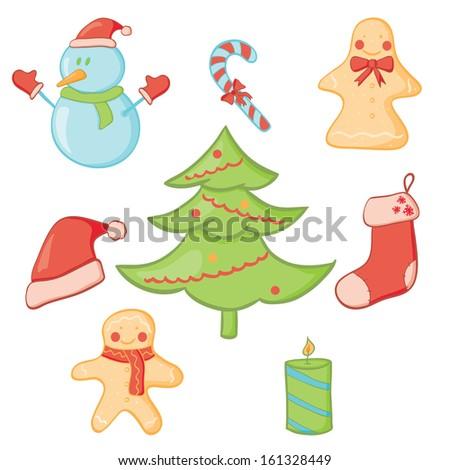 Illustration of christmas doodle icon set. Raster version. - stock photo