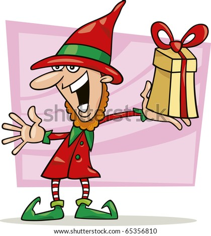 illustration of christmas elf with special gift - stock photo