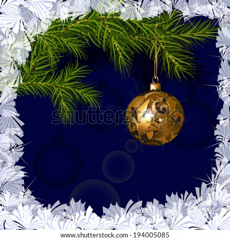 Illustration of Christmas glob on the background of fir branches, surrounded by frosty ornament