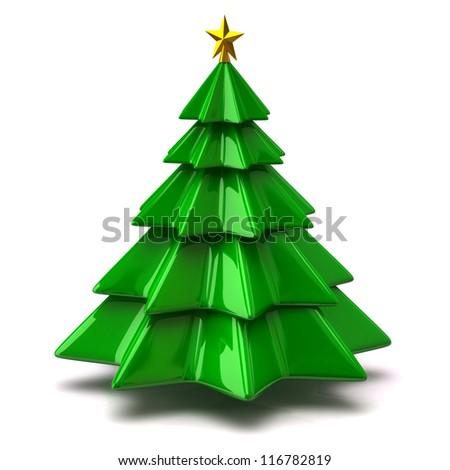 Illustration of christmas tree on white background - stock photo