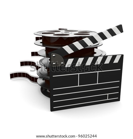 illustration of cinema clap and film reels