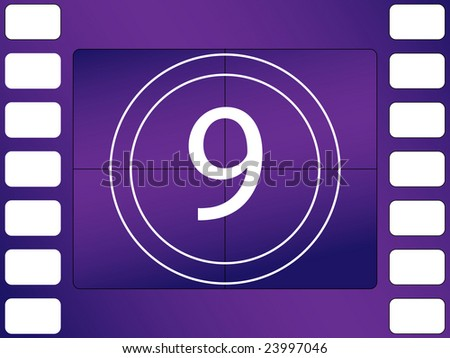 illustration of cinema countdown, number 9