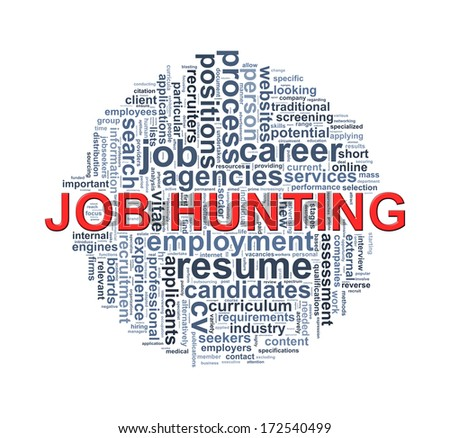 Illustration of circular design wordcloud word tags of job hunting - stock photo