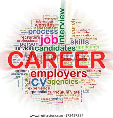 Illustration of circular word tags wordcloud of career