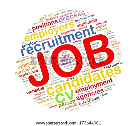 Illustration of circular word tags wordcloud of job - stock photo