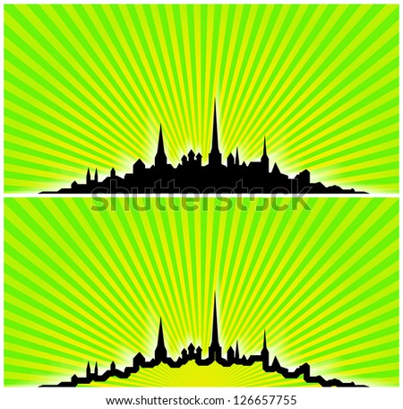 Illustration of city silhouette of Tallinn, Estonia on yellow and green light beam background. One silhouette is empty inside, other is filled with black color.