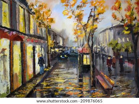 Illustration of city street. Autumn - stock photo