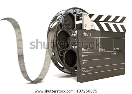 illustration of clap board with film reel - stock photo
