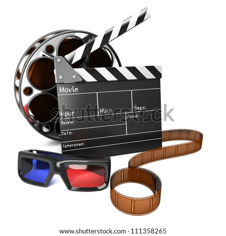 illustration of clap board with film reel and 3D movie glasses - stock photo