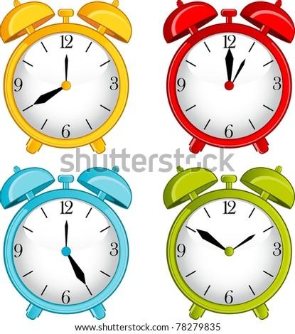 illustration of classic alarm clock on background - stock photo