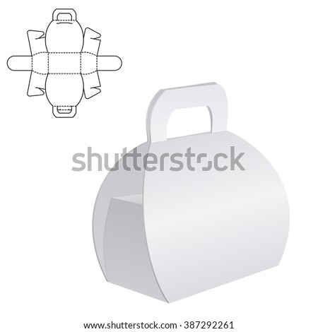 Illustration of Clear Folding Carton Box with diecut for Design, Website, Background, Banner. White Handle Package Template isolated on white. Retail pack with dieline for your brand on it - stock photo