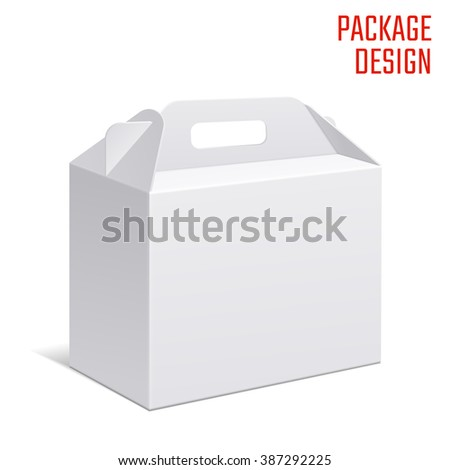 Illustration of Clear Gift Carton Box for Design, Website, Background, Banner. White Handle Package Template isolated on white. Retail pack with for your brand on it - stock photo