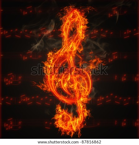 Illustration of clef on fire on the background of music score sheet - stock photo