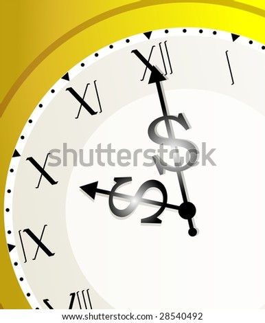 Illustration of clock and dollar needle