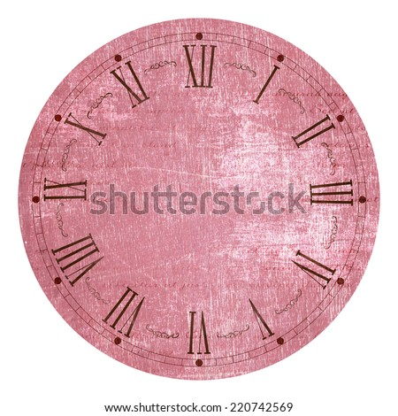 Illustration of clock face as part of watch without pointers, isolated on white background. - stock photo